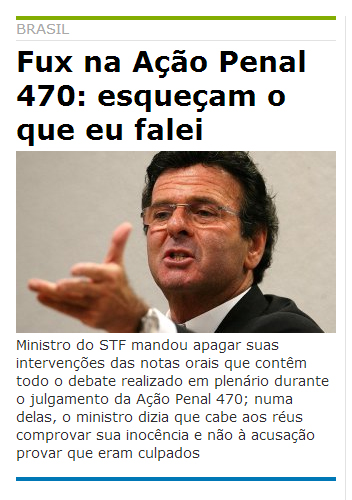 Luiz Fux, Vergonha nacional