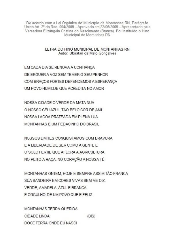 HINO MUNICIPAL DE MONTANHAS